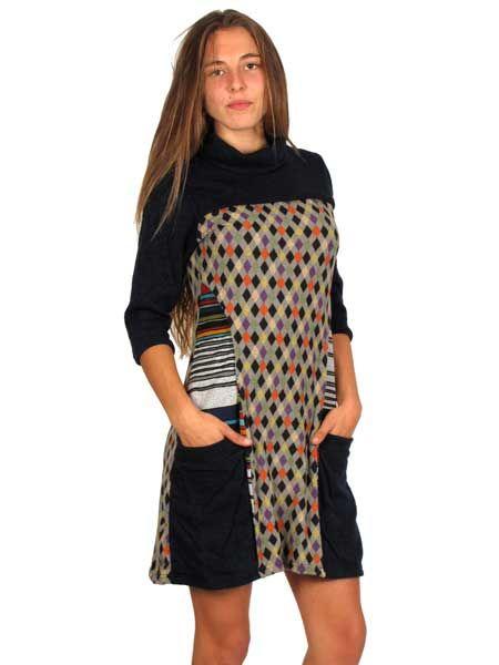 Vestido estampado étnico otoño invierno, media manga Comprar - Venta Mayorista y detalle