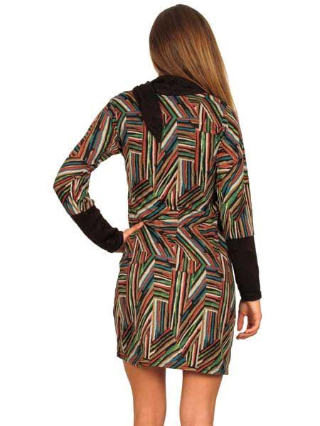 Vestido estampado étnico otoño invierno, manga larga,cuello-bufanda. Comprar - Venta Mayorista y detalle