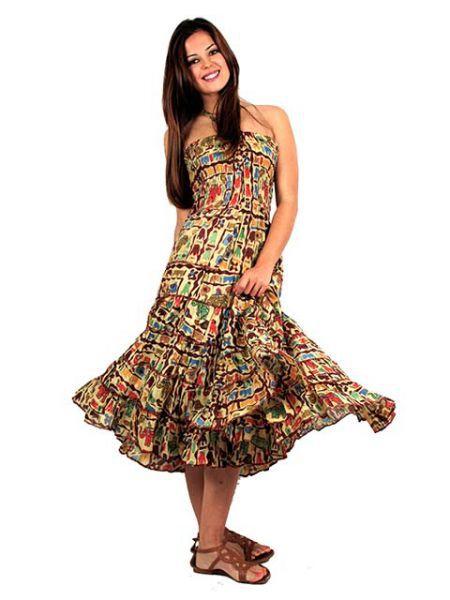 Vestido hippie estampado largo por debajo de la rodilla. Los colores Comprar - Venta Mayorista y detalle