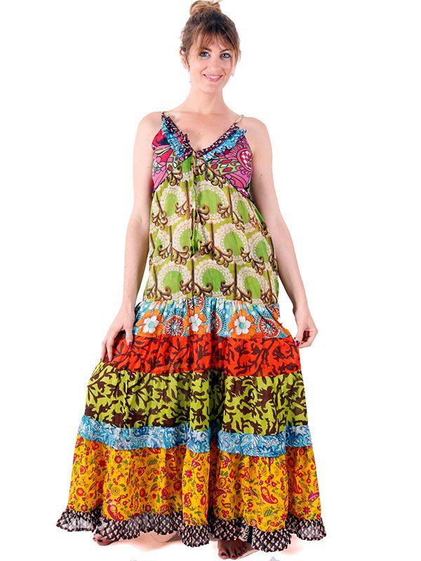 Vestido hippie largo 8 parches estampados VEHC04 para comprar al por mayor o detalle  en la categoría de Ropa Hippie Alternativa para Chicas.