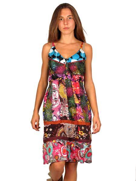 Vestido hippie patchwork, con tirantes regulables corto por encima Comprar - Venta Mayorista y detalle