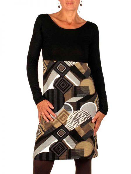 Vestidos Otoño-Invierno - Vestido combinación liso estampado VEIV07 para comprar al por Mayor o Detalle en la categoría de