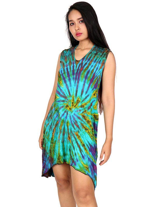 Vestido hippie Tie Dye asimétrico VEJU07 para comprar al por mayor o detalle  en la categoría de Ropa Hippie Alternativa para Chicas.