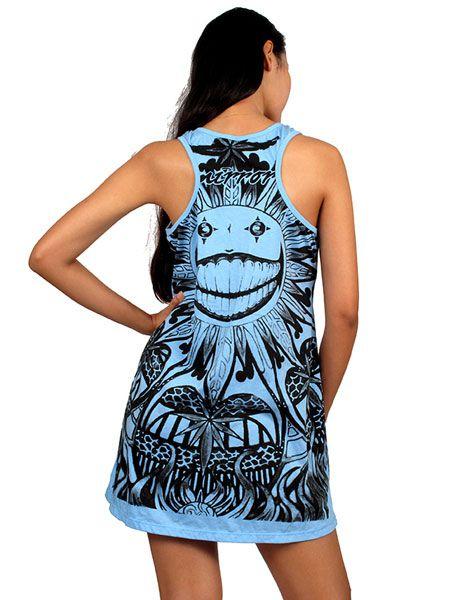 Vestido de tirantes, con estampado total diseño Sun smily, Comprar - Venta Mayorista y detalle