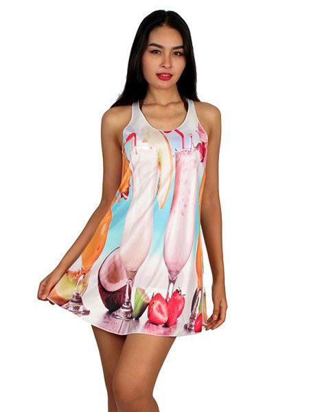 Vestido con estampados digitales, hiperealistas, coloridos, naif, Comprar - Venta Mayorista y detalle