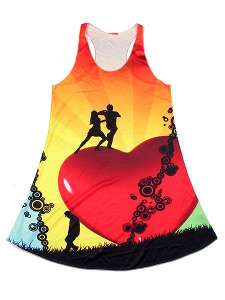 Vestido estampado corazón amantes