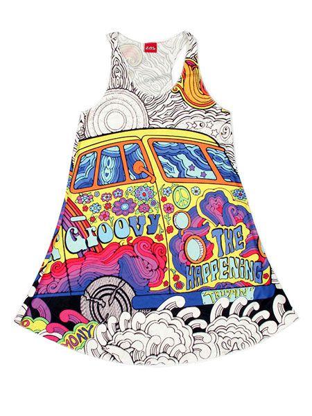 Vestido estampado Furgoneta hipie Volkswagen