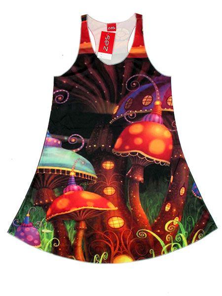 Vestido estampado magic mushroms, Setas mágicas