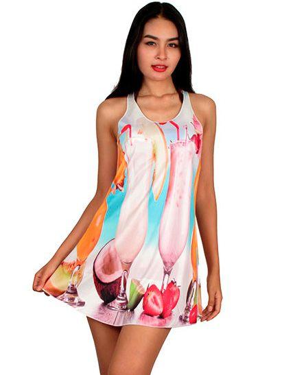 Outlet Ropa Hippie - Vestido estampado digital naif VEPO19 para comprar al por Mayor o Detalle en la categoría de Outlet Hippie Étnico Alternativo