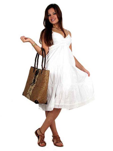 Vestido ibicenco corto algodón, con encajes, Talla única, tirante regulable - Detalle Comprar al mayor o detalle