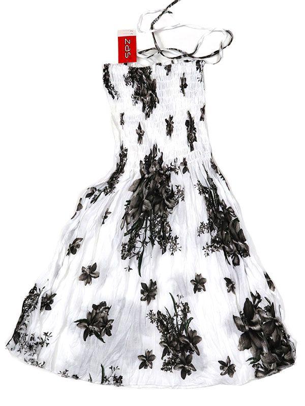 Vestidos Hippie Etnicos - Vestido blanco con estampado VESG01 - Modelo Negro