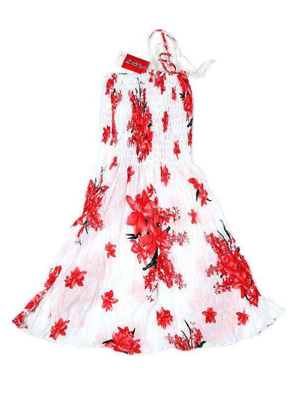 Vestidos Hippie Etnicos - Vestido blanco con estampado VESG01 - Modelo Rojo