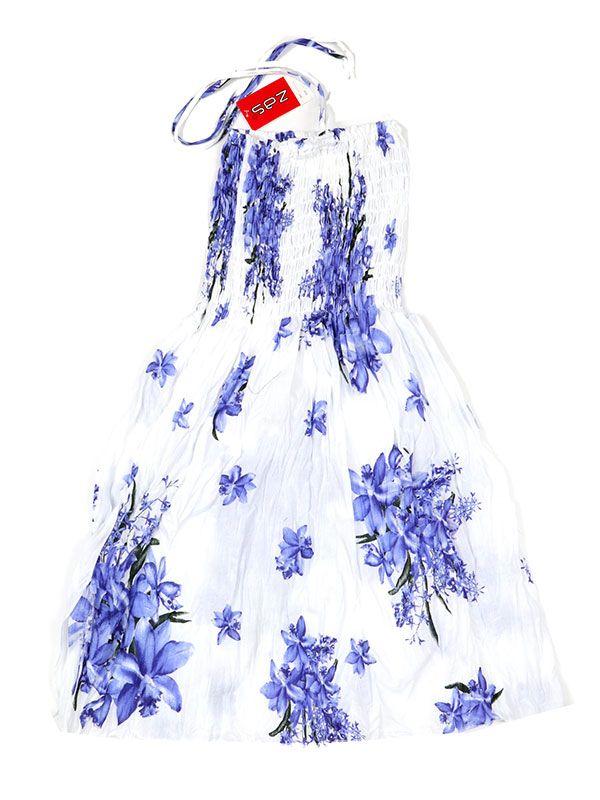 Vestidos Hippie Etnicos - Vestido blanco con estampado VESG01 - Modelo Morado