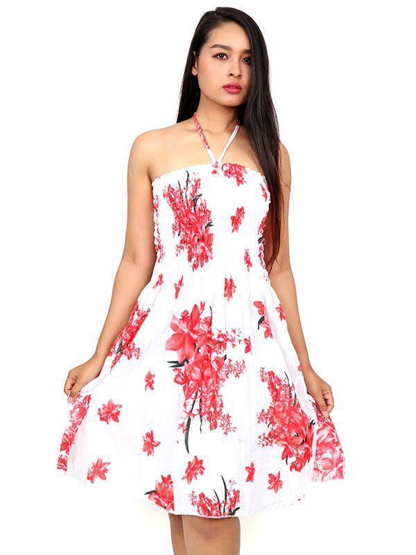 Vestidos Hippie Etnicos - Vestido blanco con estampado VESG01.