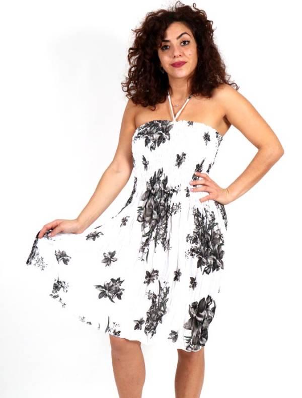 Vestidos Hippie Ethnic Boho - Vestido Blanco con estampado de flores VESG01 para comprar al por Mayor o Detalle en la categoría de Ropa Hippie Alternativa para Chicas