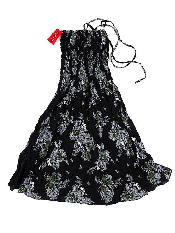 Vestidos Hippie Etnicos - Vestido negro con estampado VESG02 - Modelo Gris