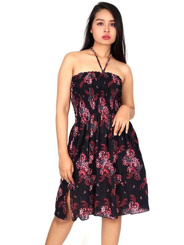 Vestidos Hippie Etnicos - Vestido negro con estampado VESG02.