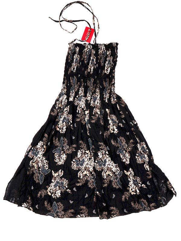Vestidos Hippie Etnicos - Vestido negro con estampado VESG02 - Modelo MarrÓn