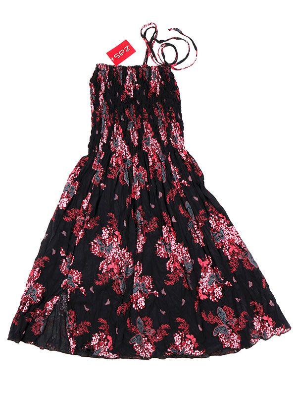 Vestidos Hippie Etnicos - Vestido negro con estampado VESG02 - Modelo Rojo