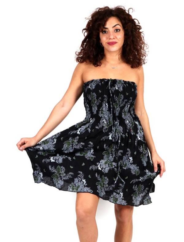 Vestido negro con estampado de flores VESG02 para comprar al por mayor o detalle  en la categoría de Ropa Hippie Alternativa para Chicas.