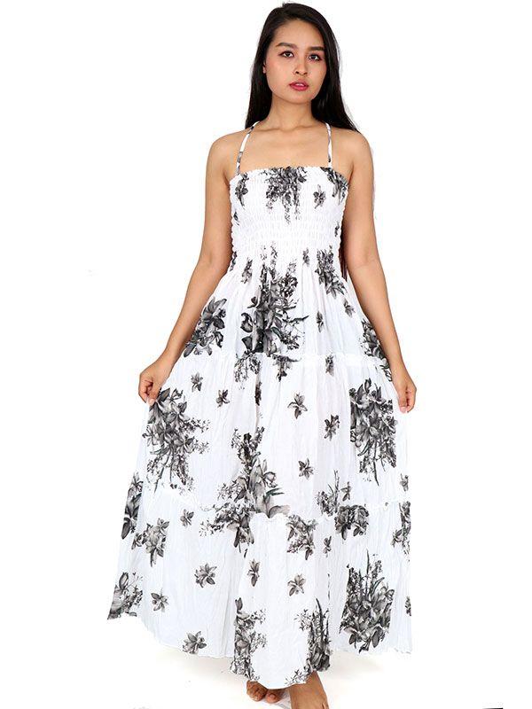 Vestido largo con estampado de flores VESG03 para comprar al por mayor o detalle  en la categoría de Ropa Hippie Alternativa para Chicas.