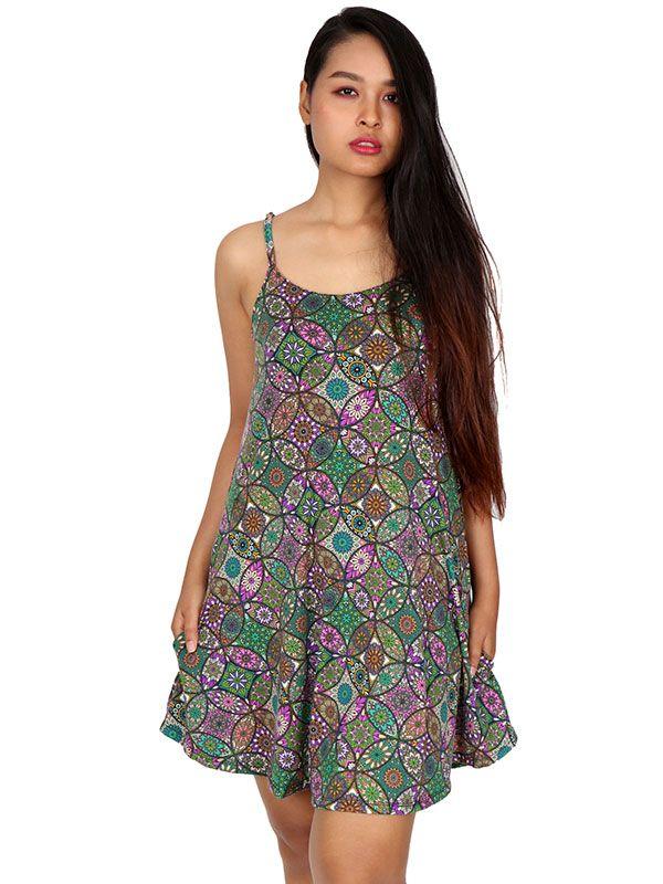 Vestido hippie estampado mandalas - Detalle Comprar al mayor o detalle