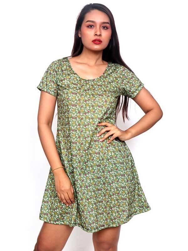 Vestidos Hippies y Etnicos - Vestido Hippie con estampado de Flores VESN27 para comprar al por Mayor o Detalle en la categoría de Ropa Hippie para Mujer