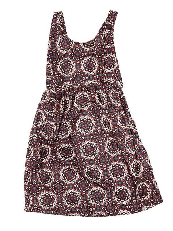 Vestido de tirantes con estampado de mandalas - Marrón Comprar al mayor o detalle