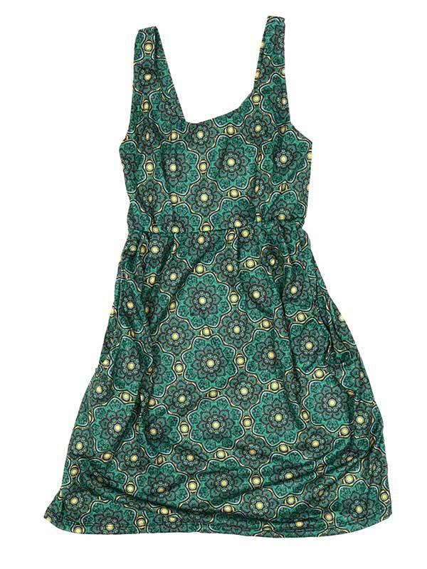 Vestido de tirantes con estampado de mandalas - Verde Comprar al mayor o detalle