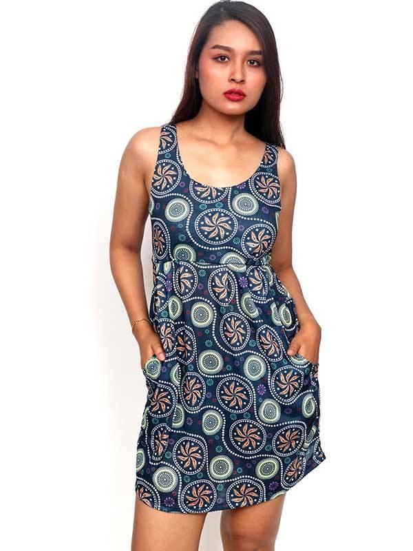 Vestidos Hippie Etnicos - Vestido de tirantes con estampado de mandalas VESN36 para comprar al por Mayor o Detalle en la categoría de Ropa Hippie Alternativa para Mujer