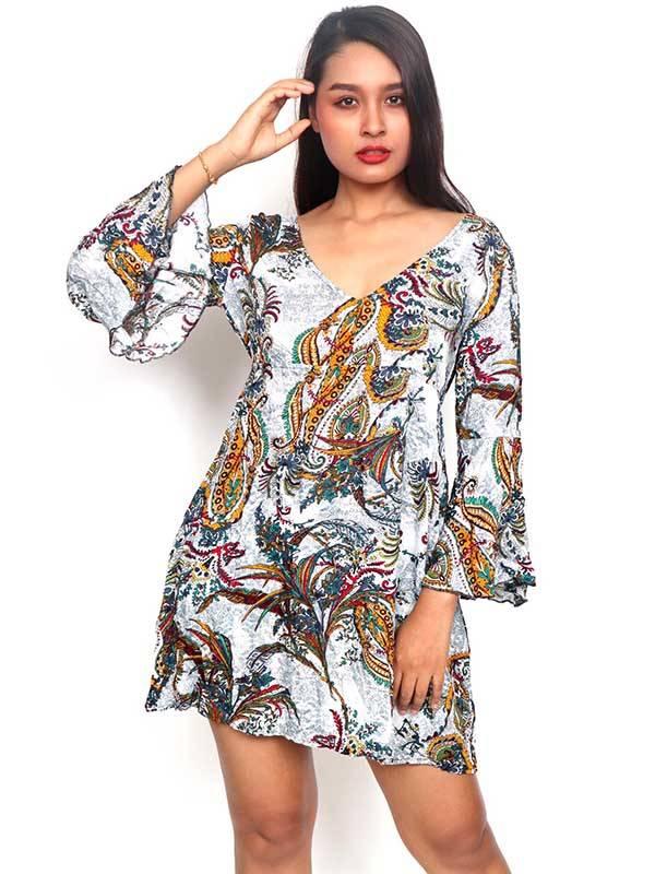 Vestidos Hippie Etnicos - Vestido de rayón con estampados de flores VESN37 para comprar al por Mayor o Detalle en la categoría de Ropa Hippie Alternativa para Mujer