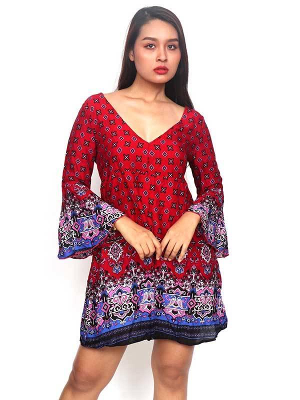 Vestido de rayón con estampados de flores [VESN38] para comprar al por Mayor o Detalle en la categoría de Vestidos Hippie Boho Alternativos