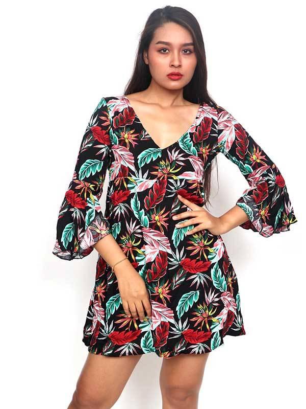 Vestido de rayón con estampados de flores [VESN39] para comprar al por Mayor o Detalle en la categoría de Vestidos Hippie y Alternativos