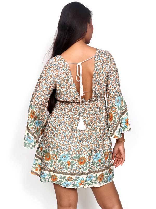 Vestido de rayón con estampados de flores - Detalle Comprar al mayor o detalle