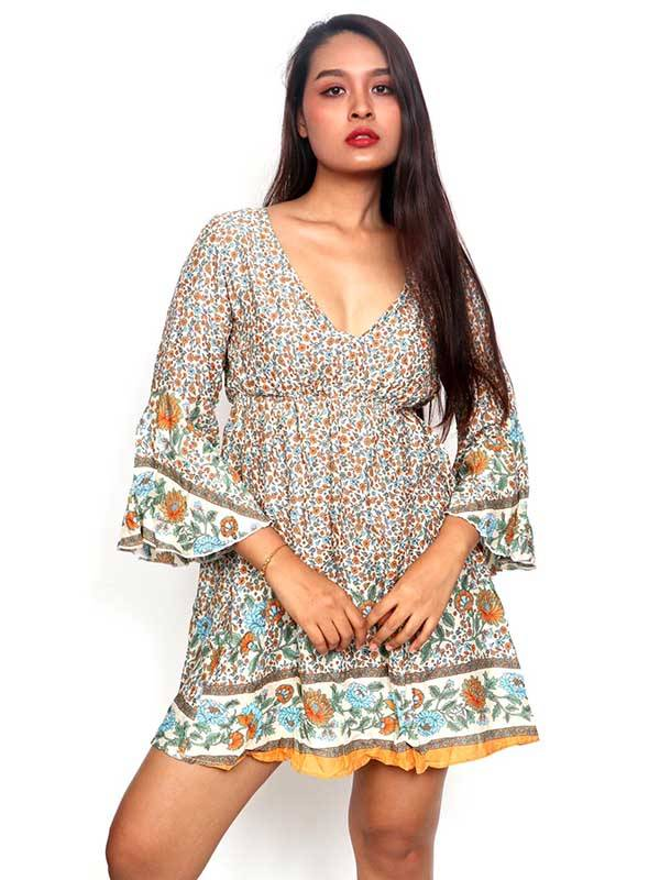 Ethnic Hippie Dresses - Rayon dress with flower prints VESN40 to buy Wholesale or Retail in the category of Alternative Hippie Clothing for Women