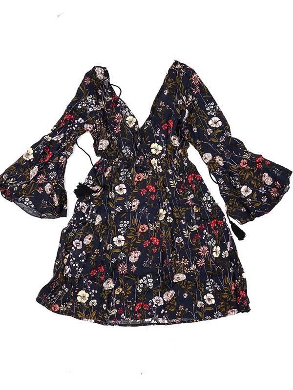 Vestido de rayón con estampados de flores - Azul Comprar al mayor o detalle