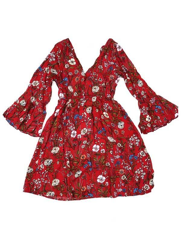 Vestido de rayón con estampados de flores - Rojo Comprar al mayor o detalle