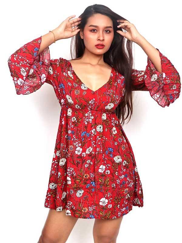 Vestido de rayón con estampados de flores [VESN41] para comprar al por Mayor o Detalle en la categoría de Vestidos Hippie Etnicos