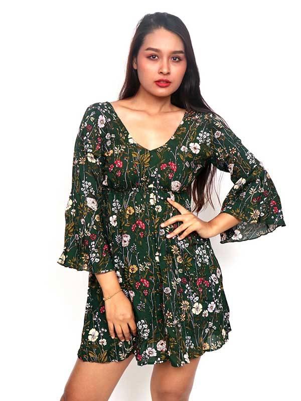 Vestido de rayón con estampados de flores [VESN42] para comprar al por Mayor o Detalle en la categoría de Vestidos Hippie Boho Alternativos