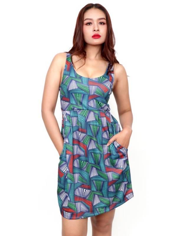 Vestido de tirantes con estampado Etnico [VESN43] para comprar al por Mayor o Detalle en la categoría de Vestidos Hippie Boho Alternativos