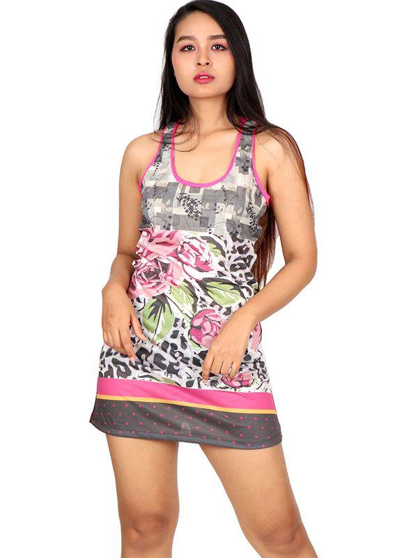 Vestidos Hippie Ethnic Boho - Vestido estampado flores [VEUN100] para comprar al por mayor o detalle  en la categoría de Ropa Hippie Alternativa para Chicas.
