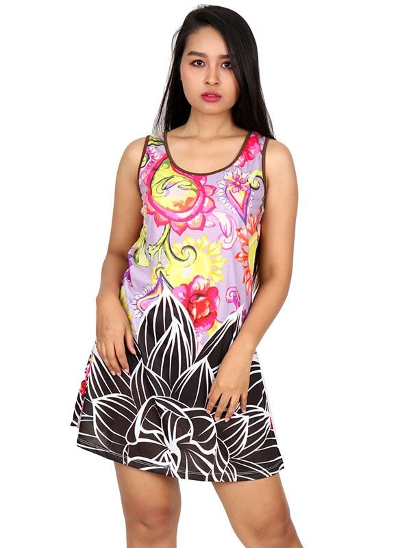 Vestidos Hippies Alternativos - Vestido estampado flores [VEUN101] para comprar al por mayor o detalle  en la categoría de Ropa Hippie Étnica para Chicas.