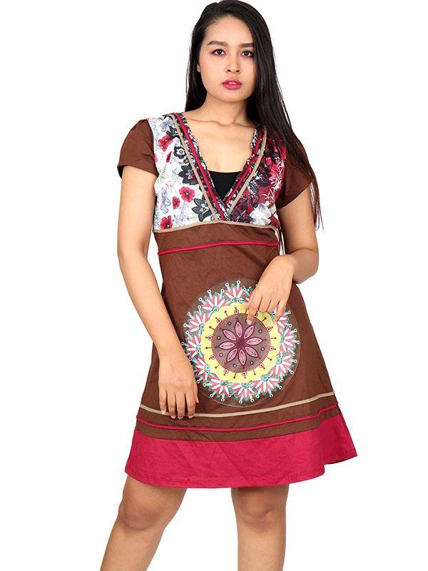 Vestidos Hippies Alternativos - Vestido hippie étnico con parches [VEUN104] para comprar al por mayor o detalle  en la categoría de Ropa Hippie Étnica para Chicas.