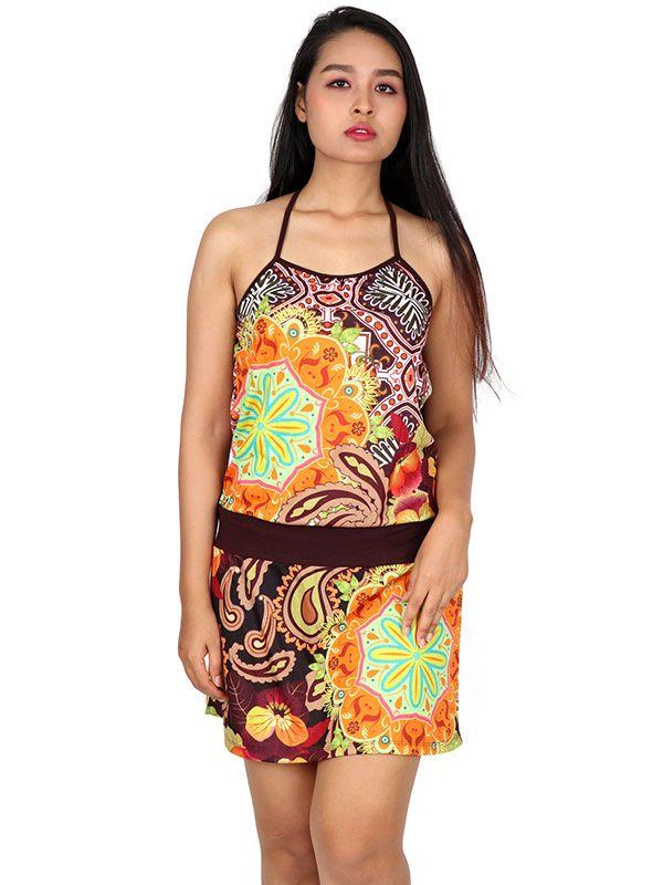 Vestido étnico estampado flores [VEUN110] para Comprar al mayor o detalle