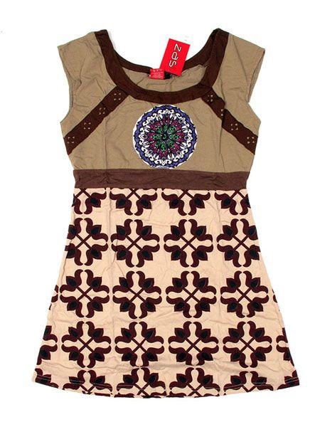 Vestido de tirantes con escote redondo, estampados étnicos.Composición: Comprar - Venta Mayorista y detalle
