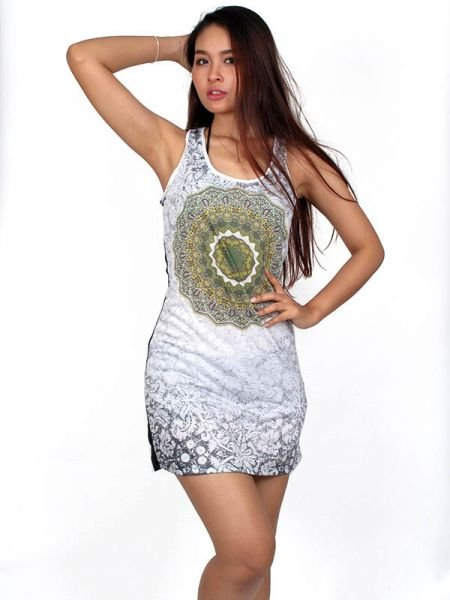 Vestido de tirantes lis con flor mandala y estampados étnicos.Composición: Comprar - Venta Mayorista y detalle
