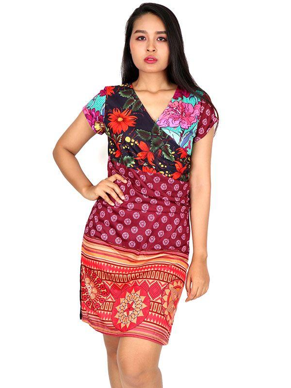 Vestidos Hippie Etnicos - Vestido étnico estampado VEUN82 para comprar al por Mayor o Detalle en la categoría de Ropa Hippie Alternativa para Mujer