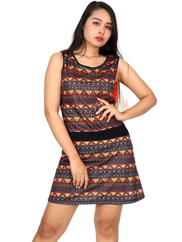 Vestido étnico estampado VEUN83 para comprar al por mayor o detalle  en la categoría de Ropa Hippie Alternativa para Mujer.