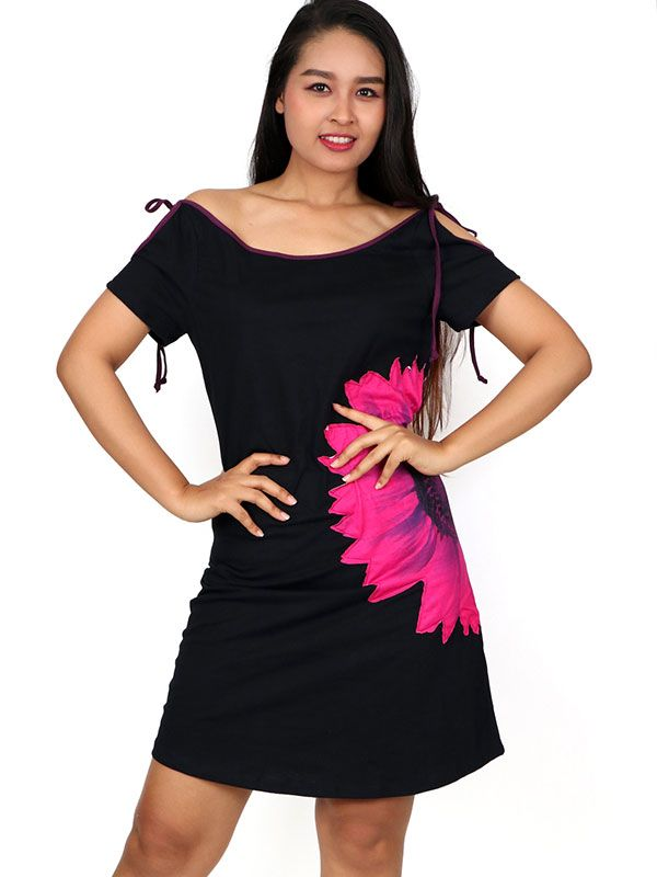 Vestido parche flor grande [VEUN92] para Comprar al mayor o detalle