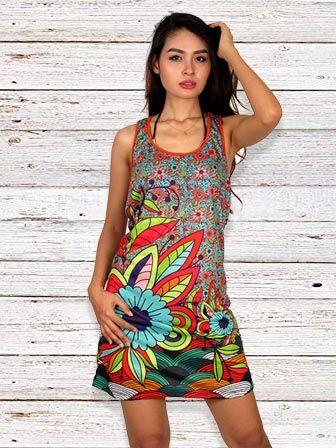 Vestido Estampado Flor Hippie Comprar - Venta Mayorista y detalle